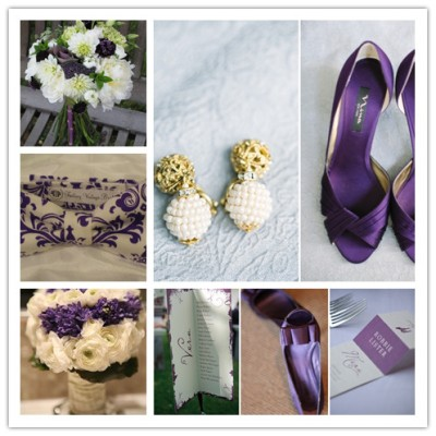 purple and white wedding details