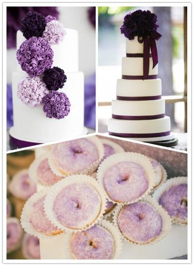 purple wedding cakes and desserts