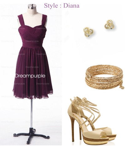 bridesmaid dresses and accessories for a purple and golden wedding