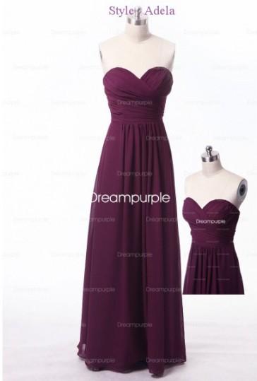 Chiffon Long Slim Bridesmaid Dress Style-Adela