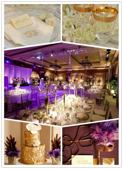 purple and golden wedding decorations
