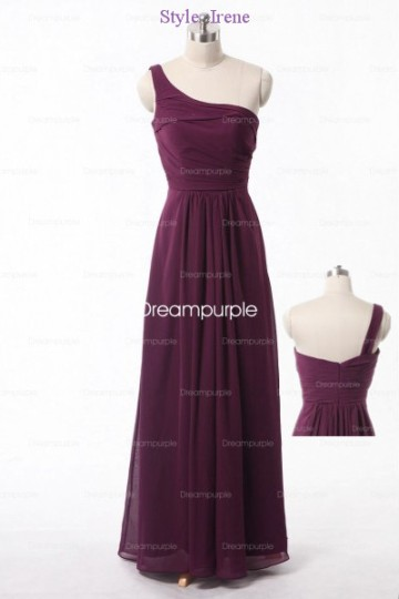 Goddess One Shoulder Chiffon Bridesmaid Dress Style-Irene